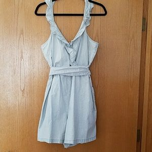 NWOT Madewell striped chambray ruffle short romper
